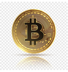 bitcoin golden cryptocurrency coin electronics vector image