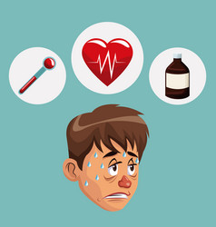 Blue color background with sickness man face icons vector
