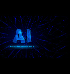 blue polygonal artificial intelligence banner vector image