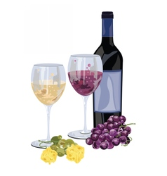 Bottle of red wine with grapes and piece of cheese vector