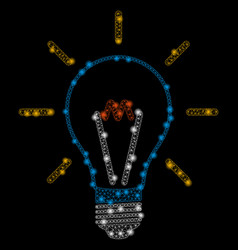 Bright mesh network invent bulb with light spots vector
