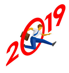 Businessman jump throw zero in 2019 vector