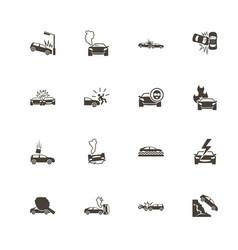 car crashes - flat icons vector image