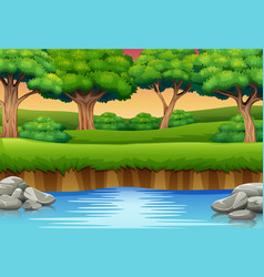 Cartoon river in forest and silhouettes bac vector