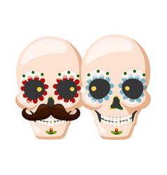 catrina skull flower vector image