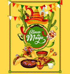 cinco de mayo fiesta party food and drink banner vector image