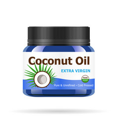 coconut oil in realistic blue jar vector image