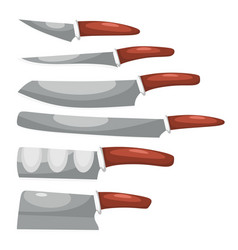 Collection knives on a white background a vector
