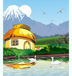 country landscape-hut on the lake with swans vector image