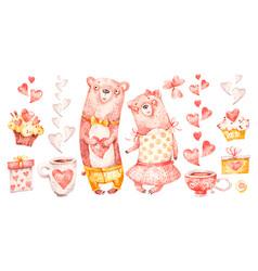 cute family couple hug bears watercolor nursery vector image