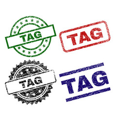 Damaged textured tag stamp seals vector