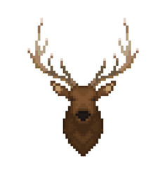 deer head pixel art wild animal vector image