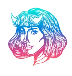 Devil woman head portrait with horns for t-shirts vector