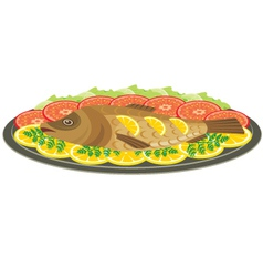 Dish with the baked fish vector image