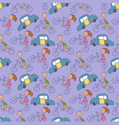doodle kids transportation pattern with bicycle vector image