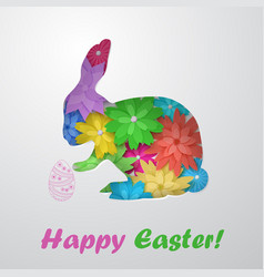 Easter hare of flowers with egg vector