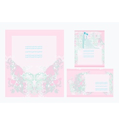 elegant wedding invitation card set vector image