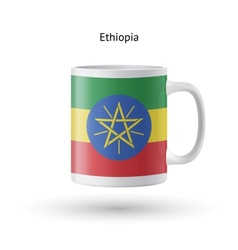 Ethiopia flag souvenir mug on white background vector