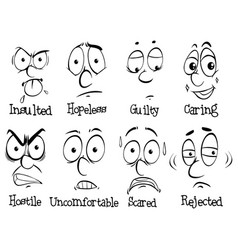 Facial expressions with words vector