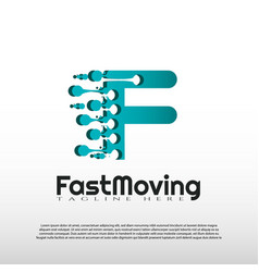 Fast moving logo with initial f letter concept vector