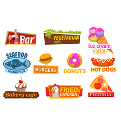 fastfood label candy and meat symbol meal vector image