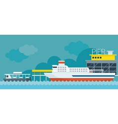 Ferry boat pier flat design objects vector