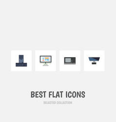 flat icon laptop set of pc vintage hardware vector image