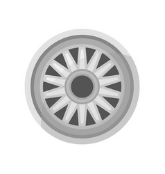 Flat icon of gray car disk alloy wheel of vector