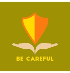 Flat icon on stylish background be careful hand vector