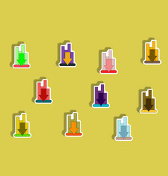 flat icons set of column chart with arrow down vector image