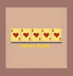 flat shading style icon royal flush vector image