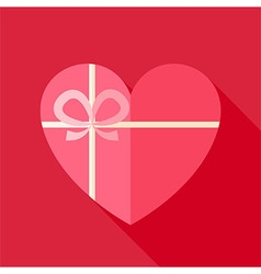 Flat Valentine Day Heart Shaped Gift with Bow Icon vector image