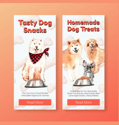 Flyer template with dogs design vector