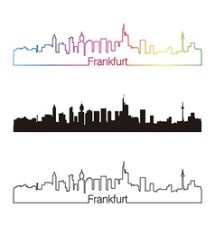 Frankfurt skyline linear style with rainbow vector image