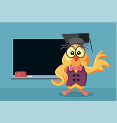 funny owl wearing a graduation hat vector image
