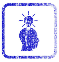 Genius bulb framed textured icon vector