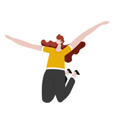 Girl jumping with raised hands isolated female vector