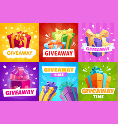 Giveaway gift boxes and presents posters vector