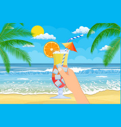 glass of cold drink alcohol cocktail in hand vector image