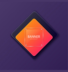 Glass square banner on background plate vector