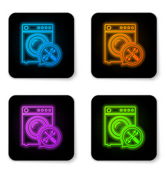 glowing neon washer with screwdriver and wrench vector image