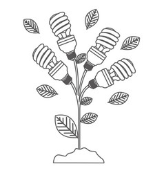 Grayscale contour with plant stem with leaves and vector