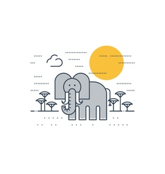 Grey elephant outdoor simple cartoon vector