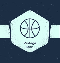 Grunge line basketball ball icon isolated on blue vector