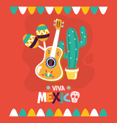 Guitar cactus maracas celebration viva mexico vector