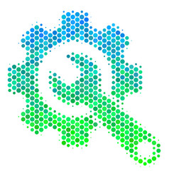 halftone blue-green gear and wrench icon vector image