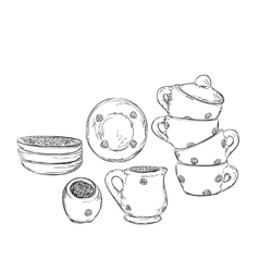 Hand drawn plate and cup Dishwares sketch vector image