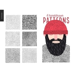 Handdrawn patterns set vector