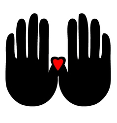 Hands with heart logo vector image