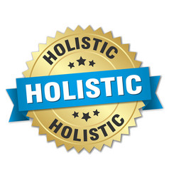Holistic round isolated gold badge vector